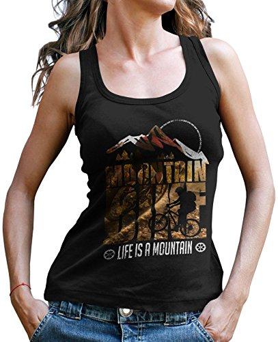 Stylotex Damen Tank Top Life is a mountain v1 Sport T-Shirt Fitness Ladies, Farbe:schwarz;Größe:L (Top Tank Mountain-girl)