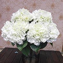 Ppower 5-cabezas ramo de flores hortensia flor artificiales, Decoración de la boda (Blanco)
