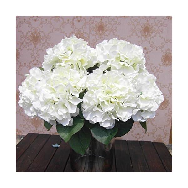 Caomoa Flor Artificial Hortensia Ramo 5 Grandes Cabezas 7 Colores Disponibles Flor de simulación de Alto Nivel