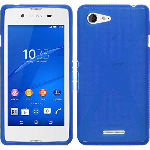 PhoneNatic Case für Sony Xperia E3 Hülle Silikon blau, X-Style + 2 Schutzfolien