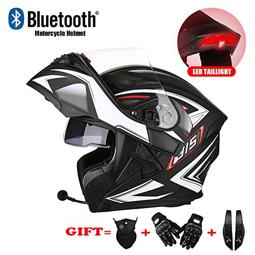 LMJ-QXhat Bluetooth Motorrad Crash Modular Helm DOT Approved Full Face Racing Motorradhelm mit Sonnenblende für Erwachsene Männer Frauen, Rücklicht Design,Black,XXXL