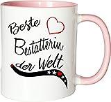 Mister Merchandise Becher Tasse Beste Bestatterin der Welt. Kaffee Kaffeetasse liebevoll Bedruckt Beruf Job Arbeit Weiß-Rosa