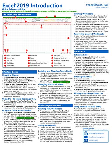 Microsoft Excel 2019 Introduction Quick Reference Training Guide (Cheat Sheet of Instructions, Tutorial, Tips & Shortcuts - Laminated Card) (Excel Cheat-sheet Für)
