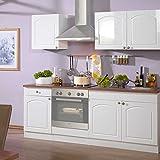 Pharao24 Küche 210 Weiß HG ohne Elektro Whites