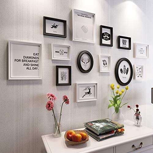 Holz-Bilderrahmen-Set zur Wandmontage Home Mall - Moderne Bilderrahmen Wand + Kombinierte Holz-Bilderrahmen + für das Wohnzimmer im Flur + 11er-Set, Multi-Bilderrahmen-Set aus Holz/Weiß und Sc