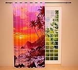 Clever-Kauf-24 Schlaufenschal Vorhang Gardine Abendrot am Strand Sonnenuntergang Violett BxH 145 x 245 cm | Sichtschutz | Lichtdurchlässig