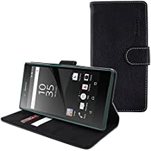 Funda Xperia Z5 Premium, Snugg™ - Carcasa Negra De Cuero Con Tapa Y Garantía De Por Vida Para Sony Xperia Z5 Premium