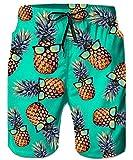 ALISISTER Herren Shorts 3D Lustige Ananas Druck Schnell Trockene Badehose Herren Sommer Strand Surf Badeshorts Mit Taschen L