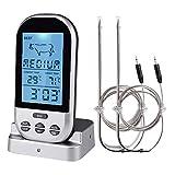 Termómetro de cocina SGODDE, [dos sondas], inoxidable, digital, inalámbrico, con temporizador/alarma, sonda de carne para barbacoa, horno, parrilla, plateado