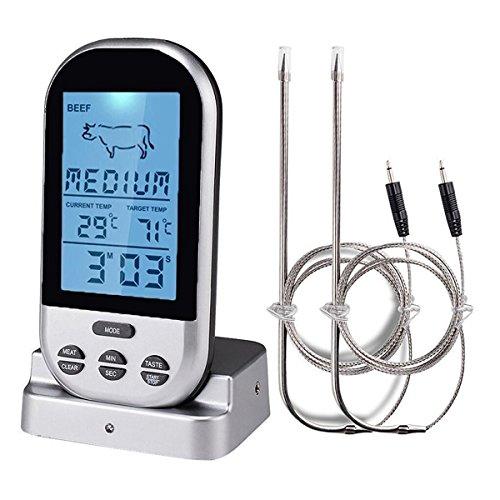 Wireless Barbecue Grill Thermometer ,SGODDE Thermometer mit großem LCD-Display,Zwei Edelstahlsonde, Digital Zeitmesser Grillthermometer,Bratenthermometer,Ofenthermometer mit Timer für BBQ Kochen, Grill, Ofen, Fleisch, Indoor / Outdoor-Grill Silber