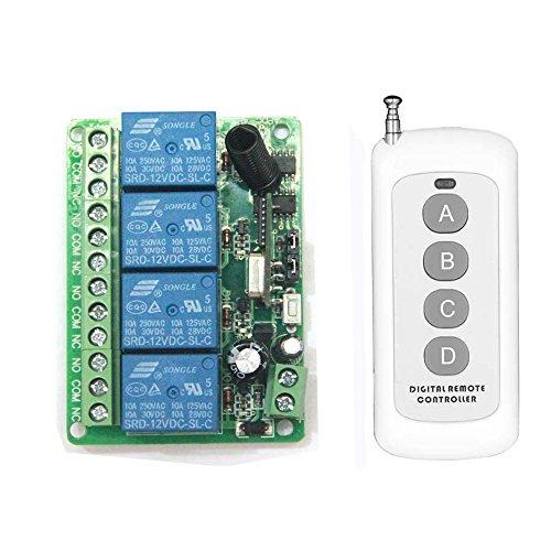 Lejin Kit CC24V 4 Canaux 200M Commande Radio Avec Émetteur Récepteur Code Apprentissage 433Mhz