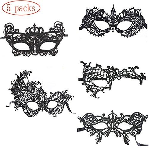 HEQUN Maschera di Pizzo Mascherata Maschera Veneziana Eyemask Halloween Maschera Merletta Sexy per Halloween per Halloween Masquerade Palla di Costume del Partito di Carnevale, Nero (5)