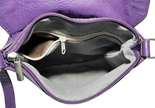 Italiano in morbida pelle, piccole e medie Messenger croce corpo o spalla borsetta.Include una custodia protettiva marca. Viola (viola)
