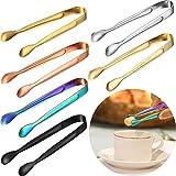 Nv Wang Mini Pinze per Ghiaccio,Pinze da Zucchero 6 Pezzi Multicolore Pinze da Servizio in Acciaio Inossidabile Piccole Pinze per tè caffè Bar Cucina Muffin Pancake Biscotti Cioccolato
