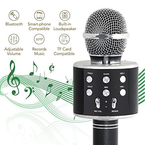 Tonor Bluetooth Karaoke Mikrofon mit Lautsprecher; Multifunktionell Tragbar Drahtlos Microphone für Karaoke Party Podcast Sprach- und Gesangsaufnahmen, kompatibel mit Android /IOS PC Laptop (Schwarz)