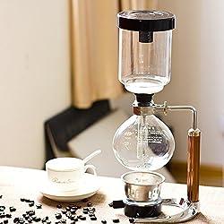TAMUME 5 Tasses Café Siphon Cafetiere Filtre Aspirateur Cafetière pour Brassage Café et Thé avec Poignée Prolongée