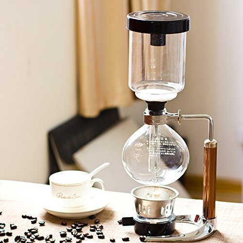 51aO6jyNOKL. SS500  - TAMUME 5 Cup Syphon Maker Vacuum Coffee Maker for Brewing Coffee and Tea with Extended Handle