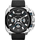 Diesel Bamf Men's Quartz Watch with Black Dial Analogue Display and Black Leather Bracelet Dz7345