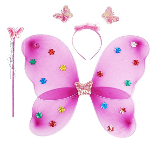 Funny Teddy Fairy Butterfly Wings Costume barbie for Baby Girl Angel for Birthday theme Party (Purple) | Includes:Butterfly Wings,Hairband and Magic Wand/Stick .