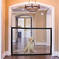 Jennifer Scott Dogs Stairs Saftey Gate Fence Protective Grille 180 x 72 cm Magic Gate for Dogs Hundr Baby Pet Mesh Magic Gate Fence Stairs Portable Guarded Guard Off (Kitchen/Upstairs/Door)