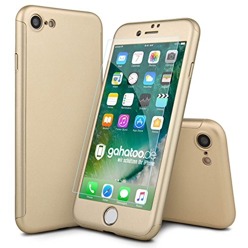 CASYLT® iPhone 8 Hülle 360 Grad Fullbody Case [inkl. 2X Panzerglas] Premium Komplettschutz Handyhülle Gold