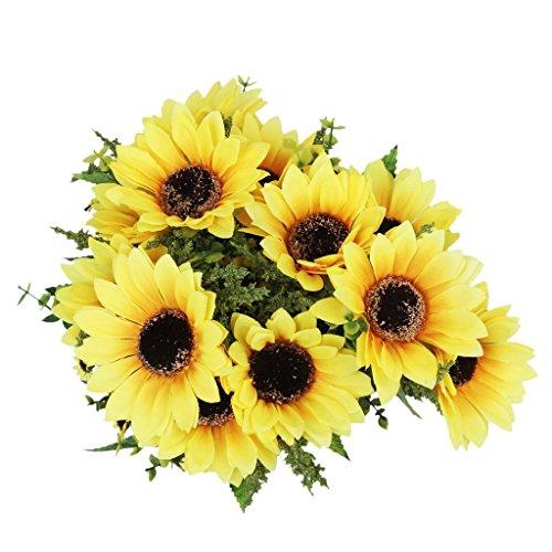 Kuulee 1 Stück Simulation Künstliche Sonnenblume Pflanze w / 18 Blüte Köpfe Dekoration - gelb Orange