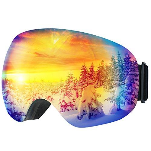 Topelek maschere sci, unisex snowboard occhiali da sci, super-grandangolo lente sferica , con anti-fog e trattamento di protezione uv400, per donna e uomo-blu