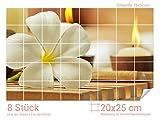 Graz Design 761644_20x25_50 Fliesenaufkleber Frangipani-Blüte/Kerzen | Wand-Deko für Bad/Küchen-Fliesen (Fliesenmaß: 20x25cm (BxH)//Bild: 75x50cm (BxH))