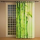 Clever-Kauf-24 Schlaufenschal Vorhang Gardine Bambus Links BxH 145 x 245 cm | Sichtschutz | Lichtdurchlässiger Schlaufenvorhang mit Druckmotiv
