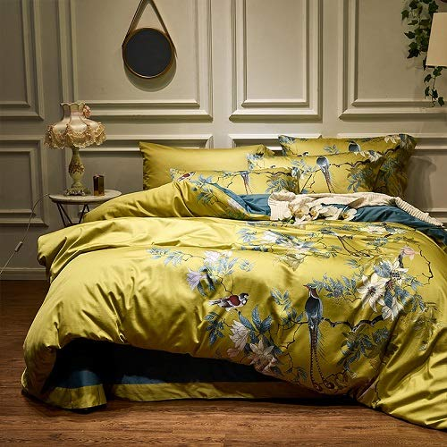 SHJIA Seidige ägyptische Baumwolle gelb grün Bettbezug Bettlaken Spannbetttuch Set King Size Queen Bettwäsche Set Gold 200x230cm -