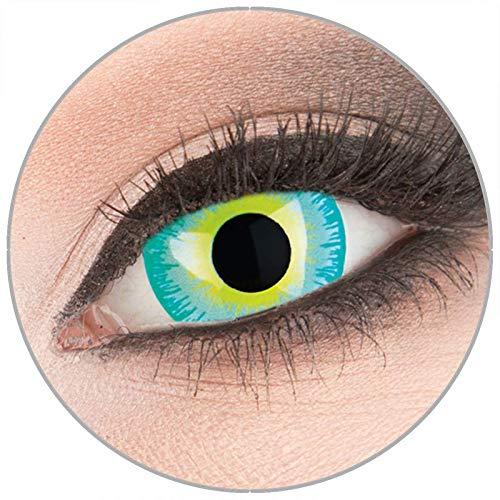 Farbige 'Green Elf' 17 mm Mini Sclera Kontaktlinsen von 'Evil Lens' zu Fasching Karneval Halloween 1 Paar grüne Crazy Fun Kontaktlinsen mit Behälter in Topqualität ohne Stärke