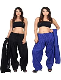 Teej New Combo Offer For Women's 2 Solid Cotton Black Blue Patiala With Dupatta Set - B072Q1X2P4