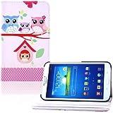 tinxi® Kunstleder Tasche für Samsung Galaxy Tab 3 7.0 T210 T211 7 Zoll (17,78 cm) Tasche Leder PC Tablet Schutzhülle Hülle Etui Flipcase Cover Case Familie Eulen (NICHT FÜR Tab 3 7.0 Lite T110 T110 geeignet)