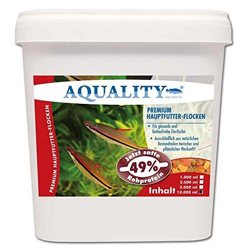AQUALITY PREMIUM Hauptfutter-Flocken 10.000 ml (GRATIS Lieferung innerhalb Deutschlands - Top Premium Fischfutter Flocken mit satten 49% Rohprotein - das wertvolle Nature Hauptfutter. Aussschließlich