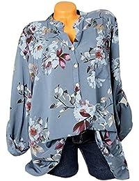 Camisetas de Manga Larga para Mujer, Blusas para Mujer Verano Camisetas Mujer Camisas Mujer Tops Mujer Monos Mujer Verano Tallas Grandes Mujer Blusas y Camisas-43