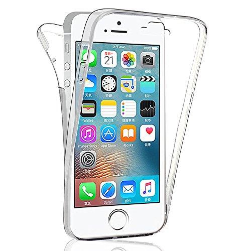 VComp-Shop® 360° Ultra dünne Silikon Handy Schutzhülle VORNE + HINTEN RUNDUM SCHUTZ für Apple iPhone 5/ 5S/ SE - TRANSPARENT TRANSPARENT