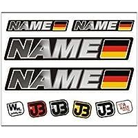 WUNSCHNAME JUNGEN Auto Fahrrad Motorrad Kart Helm Fahrername Aufkleber Sticker Flag