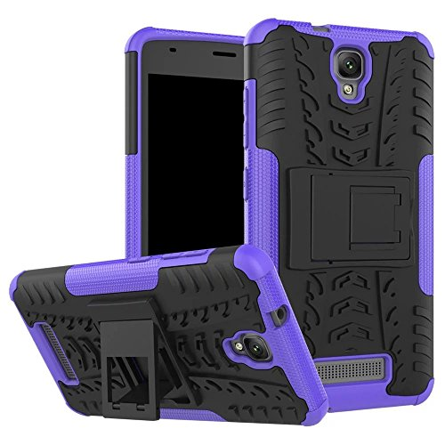 YHUISEN ZTE L5 Plus Case, Hyun Pattern Dual Layer Hybrid Armor Kickstand 2 In 1 Shockproof Case Cover für ZTE Blade L5 / L5 Plus ( Color : Black ) Purple