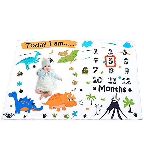 WERNNSAI Dinosaurio Manta de Hito Bebé Mensual - Suave Franela Guardería Mantas de Cama para Muchachos Baby Shower Regalos Recién Nacido, Telón de Fondo de la Fotografía Mantas con Prop