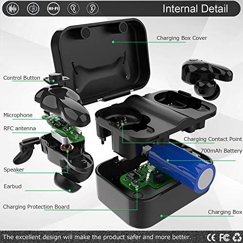 Bluetooth Kopfhörer in Ear V5.0, Sport Kabellos/Wireless Kopfhörer, Staub/Wasserdicht IPX6, 77 Stunden Standby-Zeit, 30 Minuten Schnellladung, Noise Cancelling Ohrhörer Für alle Bluetooth-Geräte - 5