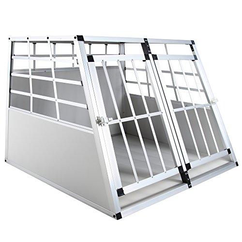 Jalano Doppel Hundetransportbox M Auto Gitterbox Hunde Alu Hundebox Kofferraum, Farbe:grau