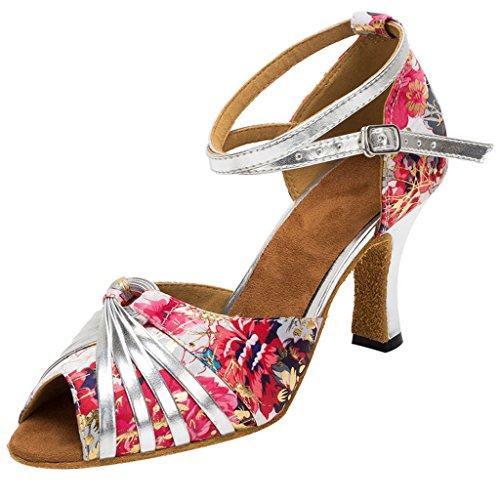 HXYOO Zapatos de Salón de Baile de Mujer Zapatos de Salsa Latín WK010(37, Plateado)