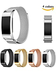 Fitbit Charge 2 Correa de Bloqueo de la Banda, Hanlesi Pulsera de Acero Inoxidable Fitness Wristband para Fitbit Charge 2 (Plata, Pequeña)