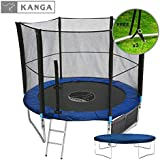Kanga 6ft / 8ft / 10ft / 12ft Premium Trampoline with Safety Enclosure, Net, Ladder, Shoe Bag & Winter Cover