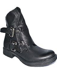 Damen Stiefel Stiefeletten Blockabsatz Lederoptik Biker Boots Worker Gr. 36-41 W5067
