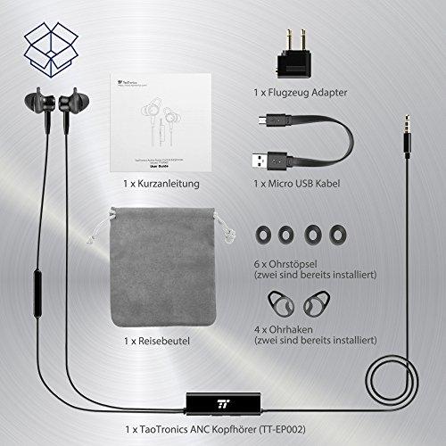 Noise Cancelling Kopfhörer TaoTronics In Ear Ohrhörer mit Rauschunterdrückung verstärkter Wahrnehmung Überwachungsmodus, ANC MEMS Mikrofon und erstklassisches Aluminium in mattschwarzer Ausführung - 7