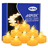 AGPTEK 100er Pack LED Kerzen flammenlose batteriebetriebene Teelichter ohne Flackern LED Votivkerzen LED candle light für Halloween, Weihnachten, Partys, Geburtstag, Hochzeit Gelb
