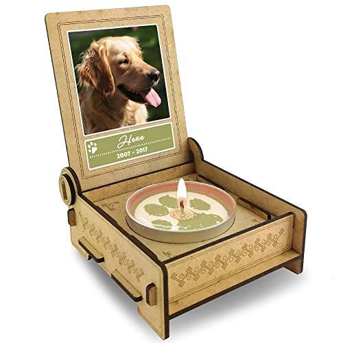 TROSTLICHT | Trauerkerze Hund | personalisiert mit Foto & mit Namen | Holz-Box mit Spruch & Pfote | Abschied Hund | Hund Erinnerung | Verlust Hund (Spruch Pfoten)
