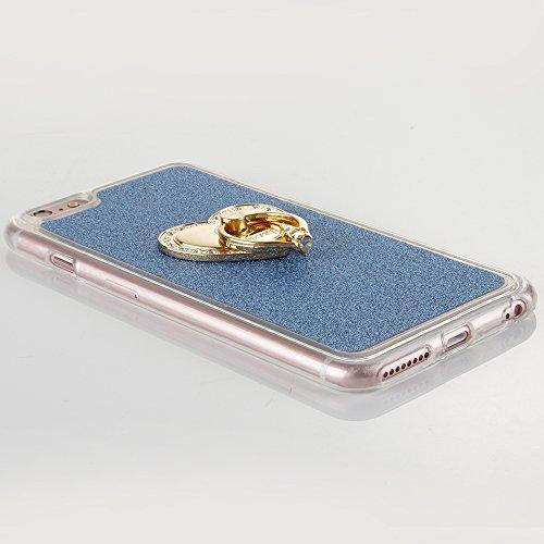 """Flexible Mat Rubber Couverture pour Apple iPhone 6Plus/6sPlus 5.5""""(NON iPhone 6/6s 4.7""""), CLTPY Mignon Dessin Arrière avec Détachable Scintillement Anti Scratch Pare-chocs avec Support de Bague pour i Blue avec Anneau"""