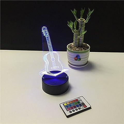 kunli Kreatives Glühen LED Nachtlicht Bunte Gitarre Inspiration 7 Farben Optical Illusion Lampe, Tisch Licht für Home Room Dekorative oder Geschenke für Freunde Kids Festival